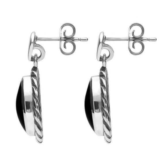 Sterling Silver Whitby Jet Oval Rope Edge Triangle Bale Drop Earrings E286