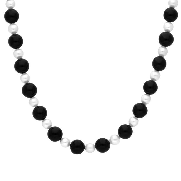 Sterling Silver Whitby Jet Pearl Bead Necklace. N384B.