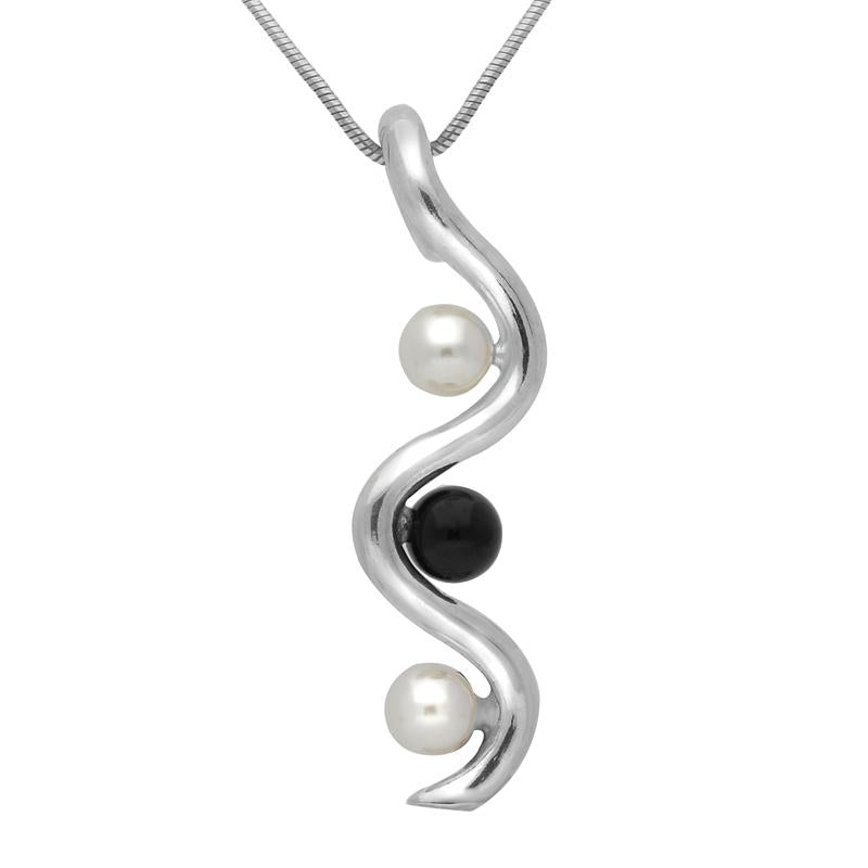 Sterling Silver Whitby Jet Pearl Three Stone Swirl Necklace