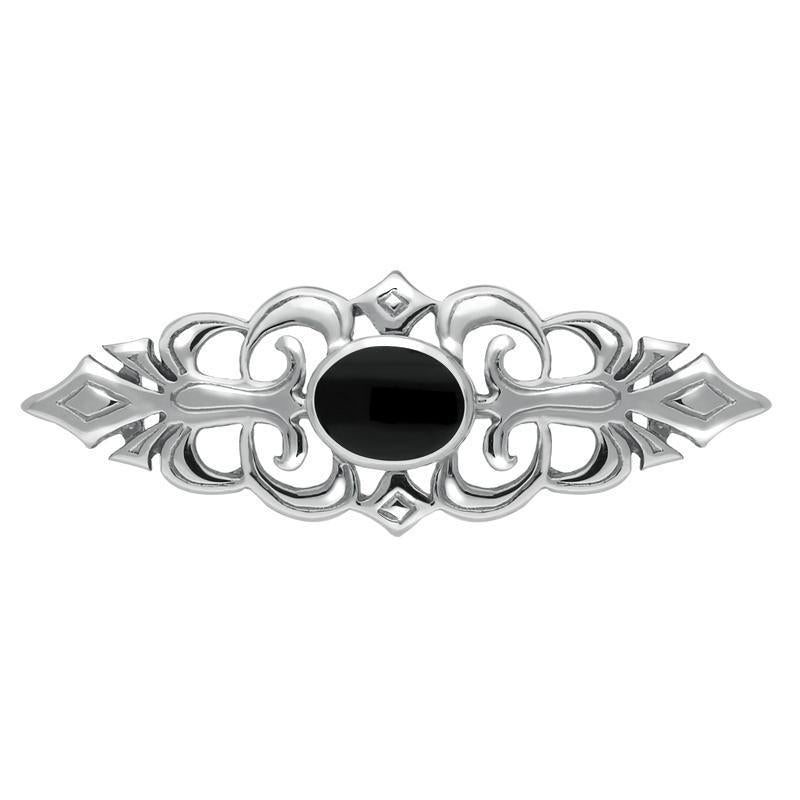 Sterling Silver Whitby Jet Pierced Bar Brooch