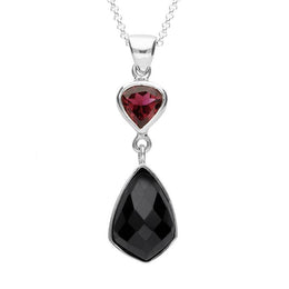 Sterling Silver Whitby Jet & Pink Tourmaline Faceted Kite Necklace. PUNQ0004754