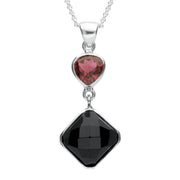 Sterling Silver Whitby Jet & Pink Tourmaline Faceted Square Necklace. PUNQ0004753