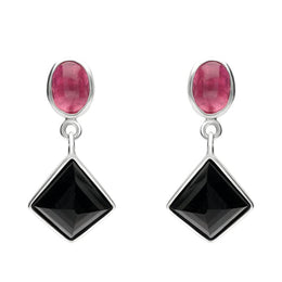 Sterling Silver Whitby Jet Pink Tourmaline Faceted Square and Oval Unique Drop Earrings EUNQ0000837
