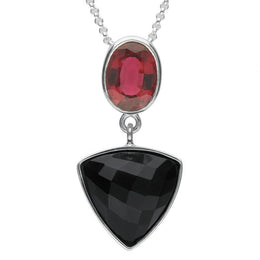 Sterling Silver Whitby Jet & Pink Tourmaline Triangle Necklace. PUNQ0004763