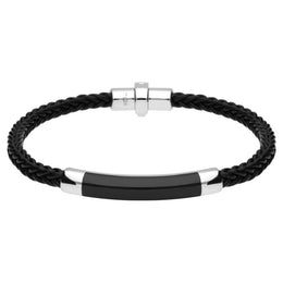 Sterling Silver Whitby Jet Plaited Leather Bar Bracelet B1100