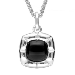 Sterling Silver Whitby Jet Ridged Cushion Necklace P2617
