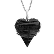 Sterling Silver Whitby Jet Rough Cut Heart Vine Swirl Necklace PUNQ0004969