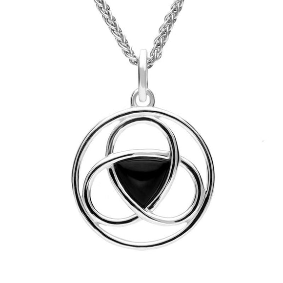 Sterling Silver Whitby Jet Round Celtic Knot Necklace. P3133