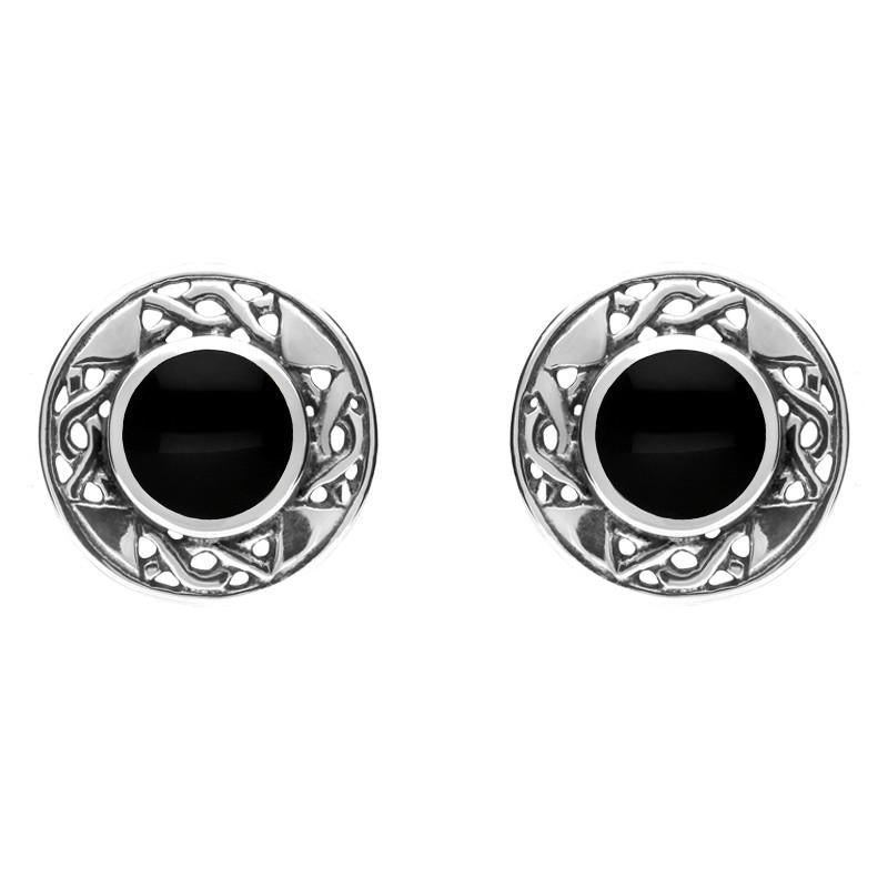 Sterling Silver Whitby Jet Round Celtic Stud Earrings