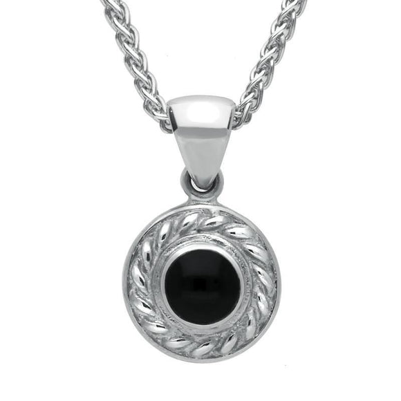 Sterling Silver Whitby Jet Round Rope Edge Necklace P325