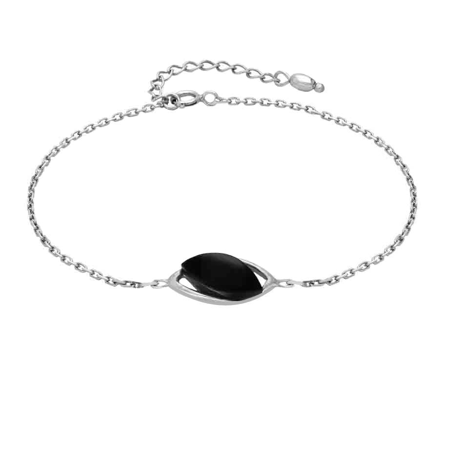 Sterling Silver Whitby Jet Single Marquise Offset Bracelet