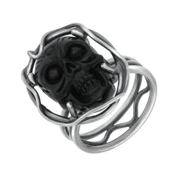 Sterling Silver Whitby Jet Skull Branch Surround Ring RUNQ0001386