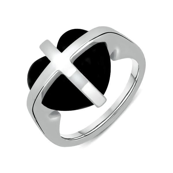 Sterling Silver Whitby Jet Small Cross Heart Ring