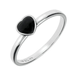 Sterling Silver Whitby Jet Small Heart Ring R1058