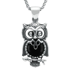Sterling Silver Whitby Jet Small Owl Necklace