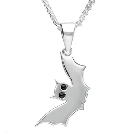Sterling Silver Whitby Jet Small Side Bat Necklace