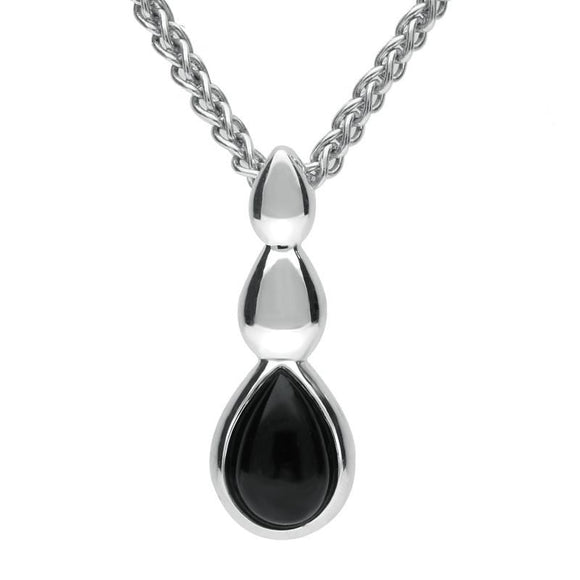Sterling Silver Whitby Jet Pear Solid Top Necklace P3134
