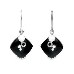 Sterling Silver Whitby Jet Square Bubble Detail Earrings