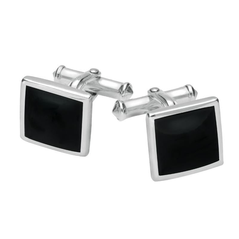 Sterling Silver Whitby Jet Square Flat Cufflinks