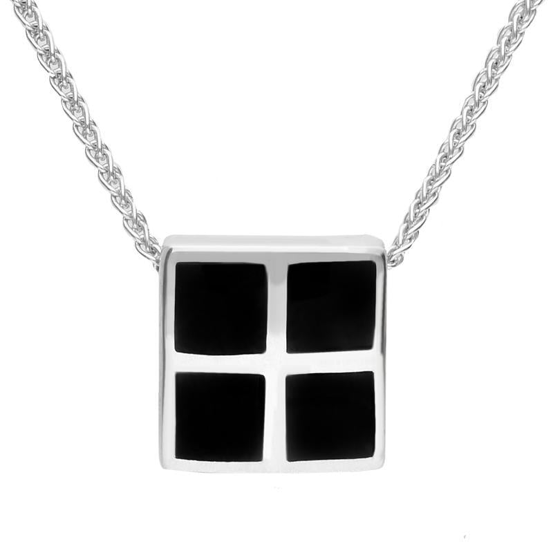 Sterling Silver Whitby Jet Square Four Stone Inlaid Necklace