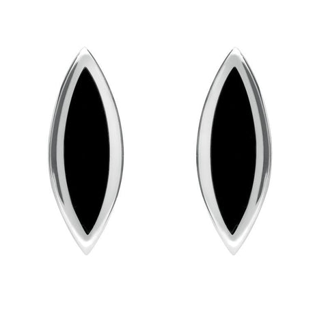 Sterling Silver Whitby Jet Toscana Marquise Stud Earrings