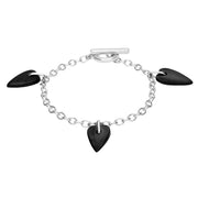 Sterling Silver Whitby Jet Triple Heart Charm T-Bar Bracelet. B395.