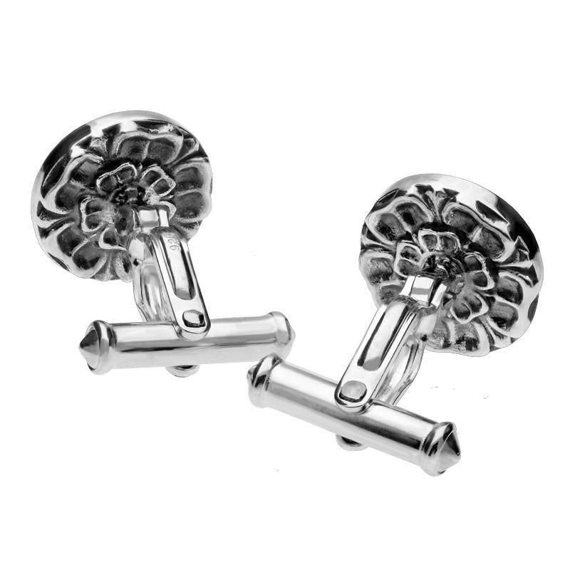 Sterling Silver Whitby Jet Tudor Rose Back Cufflinks