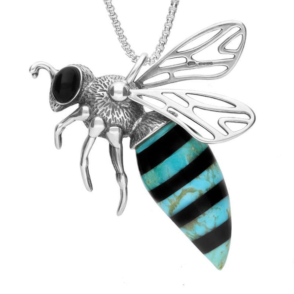 Sterling Silver Whitby Jet Turquoise Large Bee Necklace