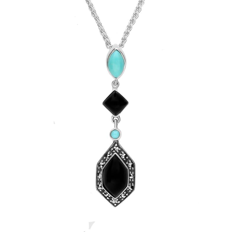 Sterling Silver Whitby Jet Turquoise and Marcasite Framed Necklace