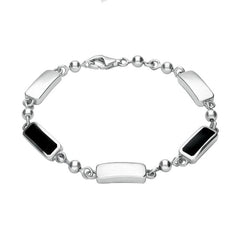 Sterling Silver Whitby Jet Two Stone Oblong Bar Bracelet