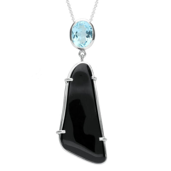 Sterling Silver Whitby Jet and Blue Topaz Abstract Oblong Necklace