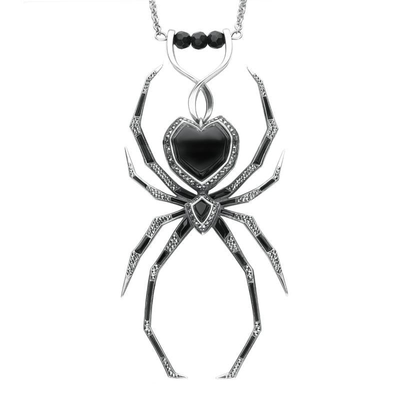Sterling Silver Whitby Jet and Marcasite Gothic Spider Necklace