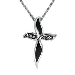 Sterling Silver Whitby Jet and Marcasite Wavy Cross Necklace. P1309