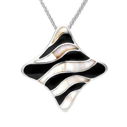 Sterling Silver Whitby Jet Mother of Pearl Wavy Concave Necklace P946