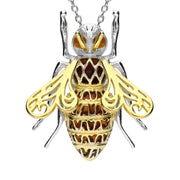 Sterling Silver Yellow Gold Vermeil Amber Honey Bee Necklace P3163