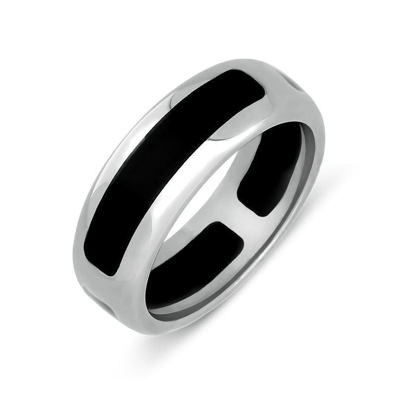 Sterling Silver and Whitby Jet 8mm Wedding Ring