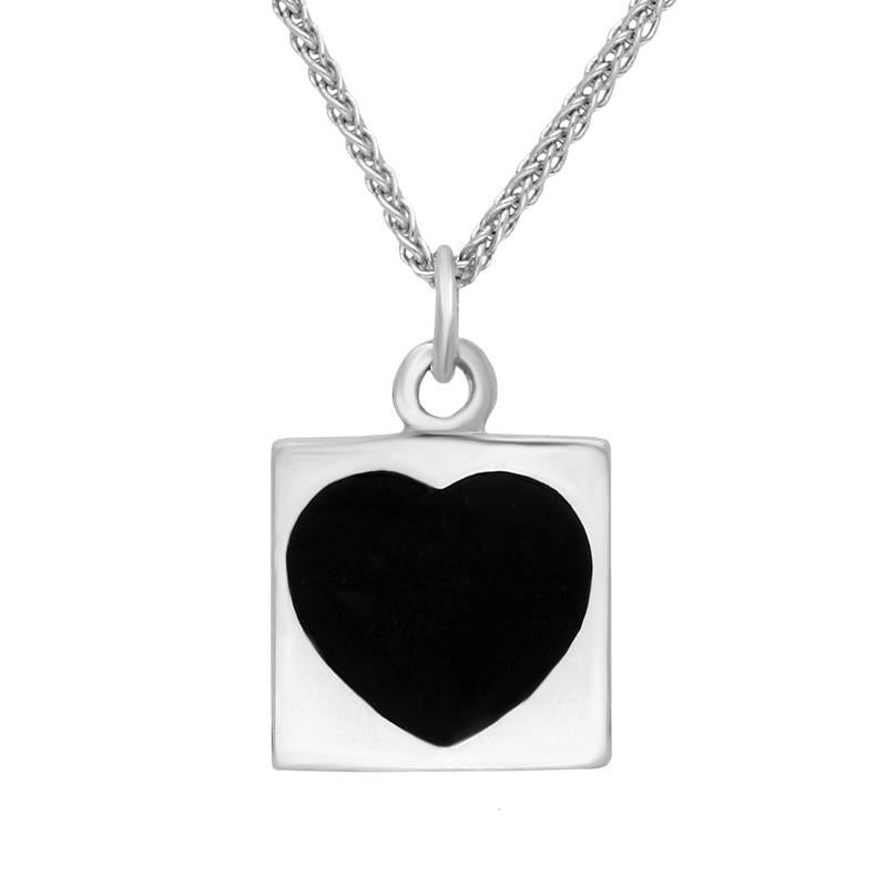 Sterling Silver and Whitby Jet Square Heart Necklace