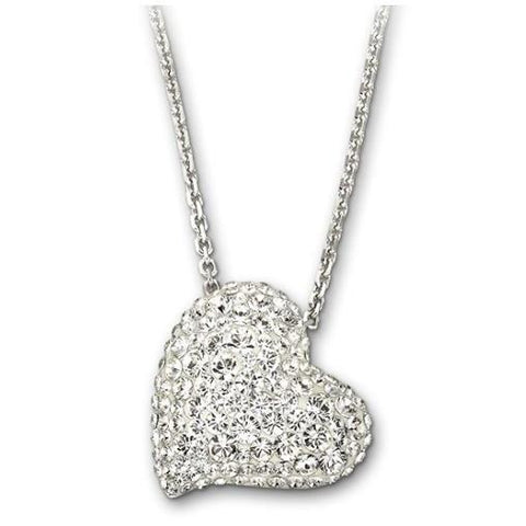 Swarovski Alana Rhodium White Crystal Heart Necklace D