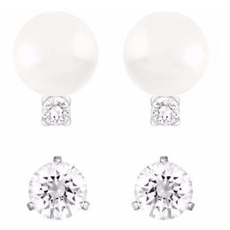 Swarovski All Day Crystal Pearl And Clear Crystal Earrings Set D 5184311