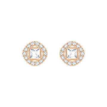 Swarovski Angelic Rose Gold White Crystal Square Stud Earrings 5352049