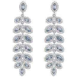Swarovski Baron Blue And Clear Crystal Drop Earrings 5074350
