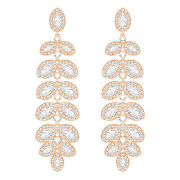 Swarovski Baron Rose Gold White Crystal Drop Earrings 5350617