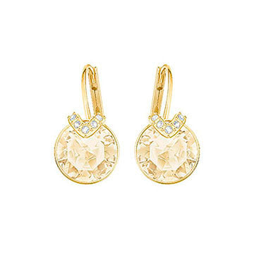 Swarovski Bella Yellow Gold Brown Crystal V Earrings 5349963