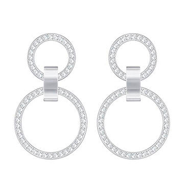 Swarovski Chandelier Hollow Rhodium White Crystal Earrings 5349353