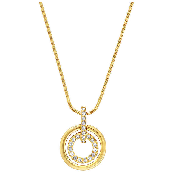 Swarovski Circle Yellow Gold Clear Crystal Pendant 1081977