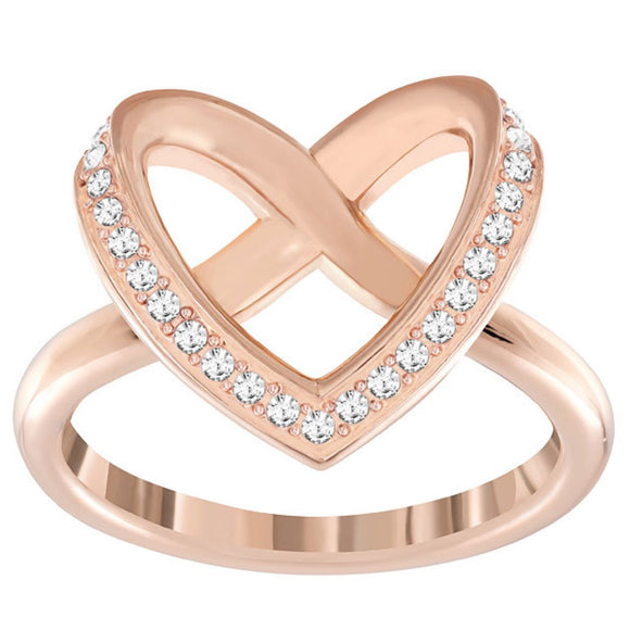 Swarovski Cupidion Rose Gold White Crystal Heart Ring Size 52 5139687