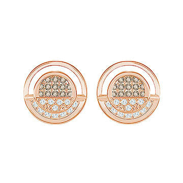 Swarovski Rose Gold White And Grey Crystal Hillock Round Stud Earrings  5351081  af27e02e56