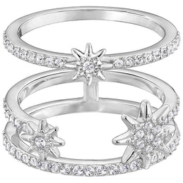 Swarovski Rhodium White Crystal Fizzy Ring Set Size 55 5217792