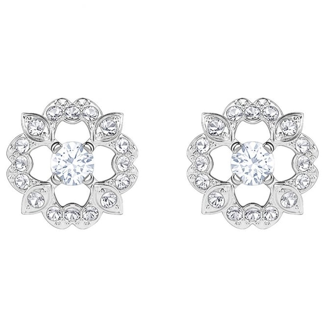 Swarovski Rhodium White Crystal Sparkling Dance Flower Earrings