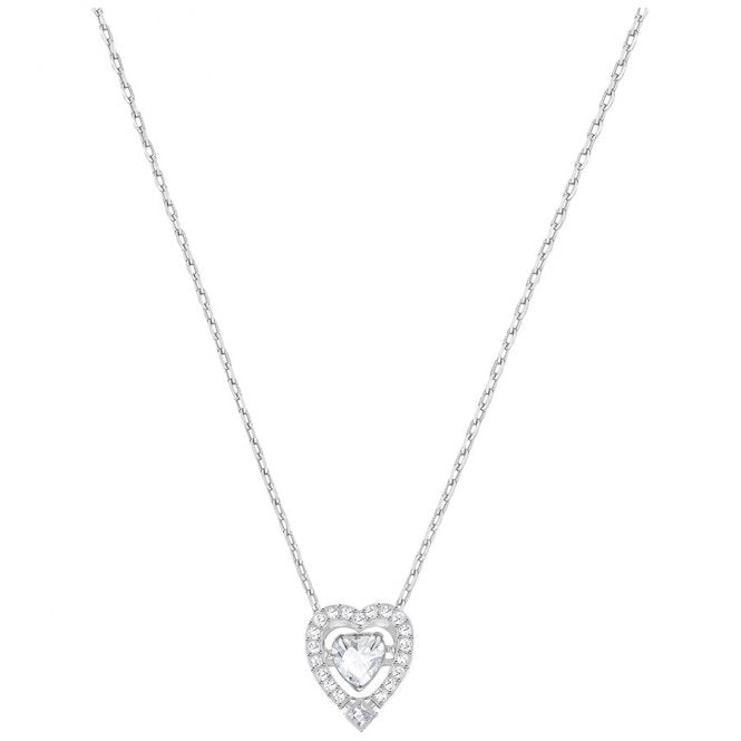 Swarovski Rhodium White Crystal Sparkling Dance Heart Necklace